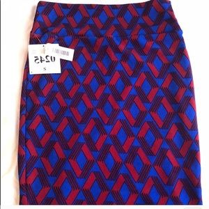 LulaRoe Blue And Red Cassie Pencil Skirt